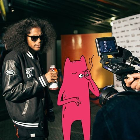 Ab-Soul and Abel on set